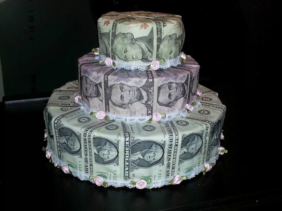 Wedding Money Gift Ideas: Money Cake I Made For My Sons Wedding Shower.