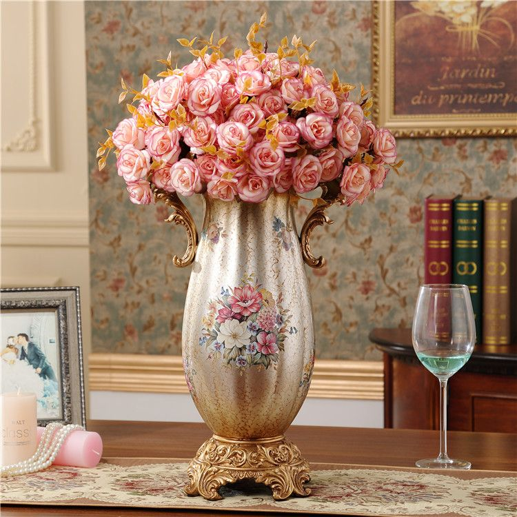 Large Flower Vases Vase Retro Resin Wedding Is The Living Room Decoration Crafts Home With Beautiful Pink Color Flowers