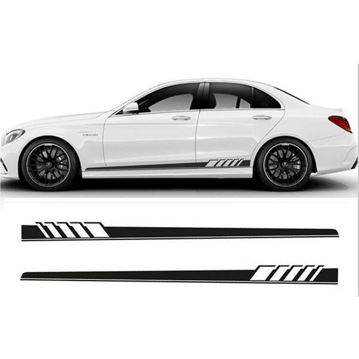 2pcs 220x11 5cm long stripe graphics car stickers off road side body vinyl decals black white blue sale