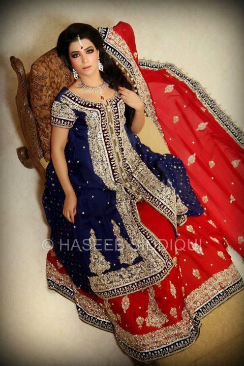 2c1fa0ce04 Blue and Red Pakistani Style Bridal Lehenga Pakistani Bridal, Bridal  Lehenga, Pakistani Dresses,