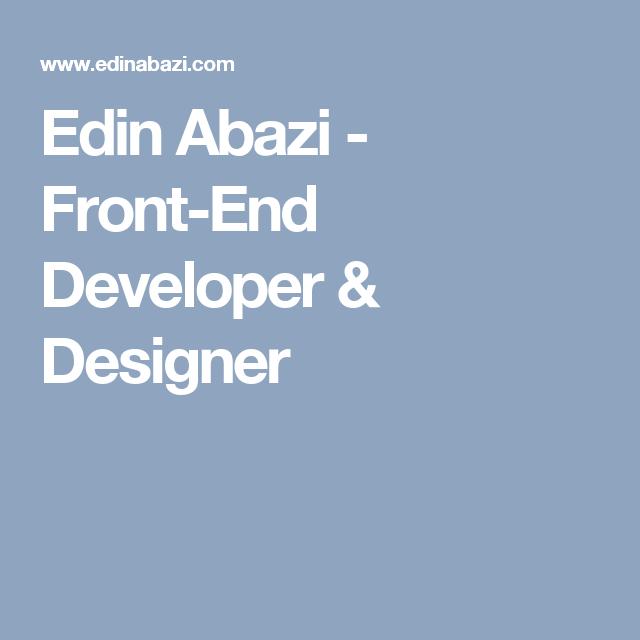Architecturehome Design: Edin Abazi - Front-End Developer & Designer