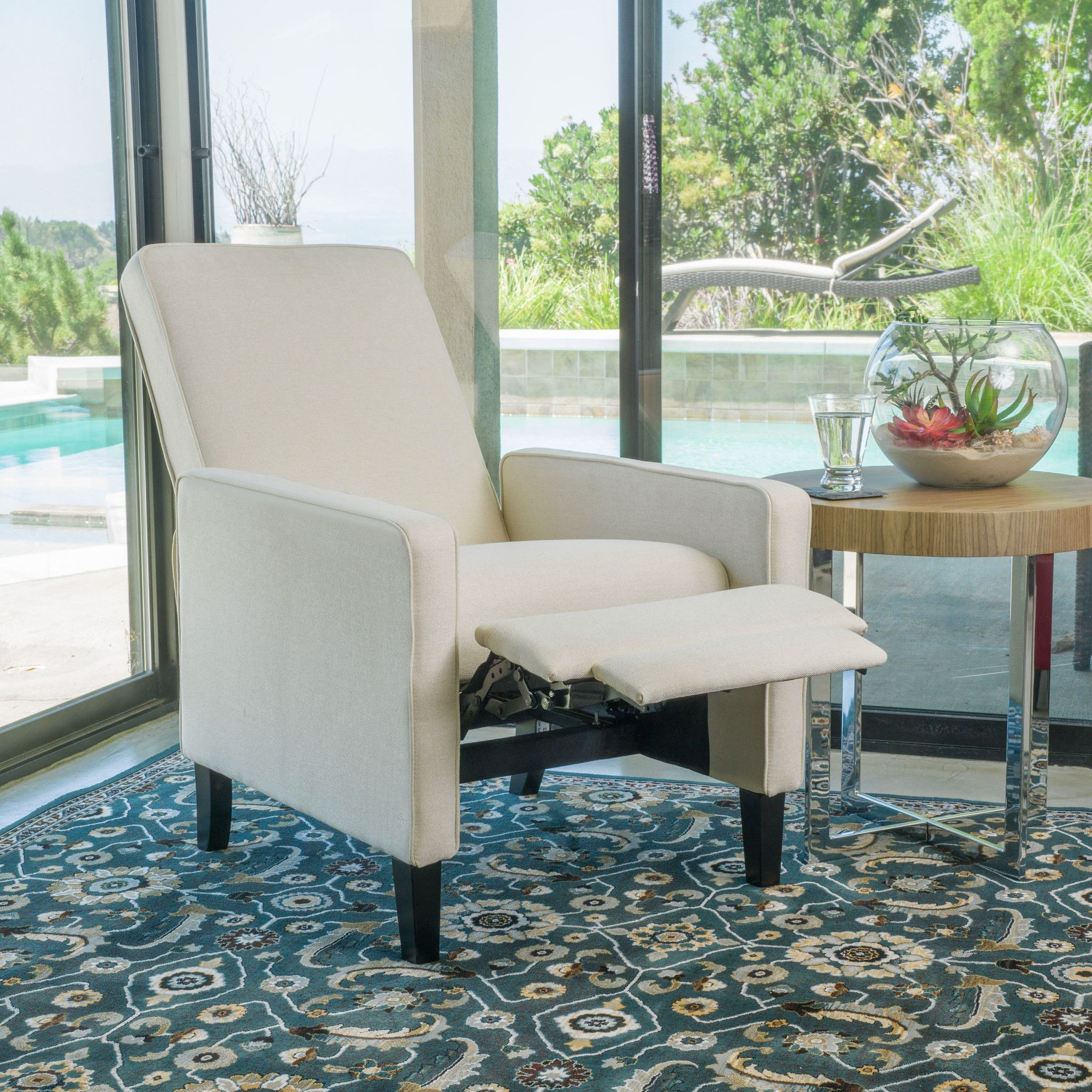 club chairs for small spaces kitchen island and olinda contemporary beige fabric recliner chair project book featuring a solid frame sturdy feet added stability strength this comfortable reclining is great