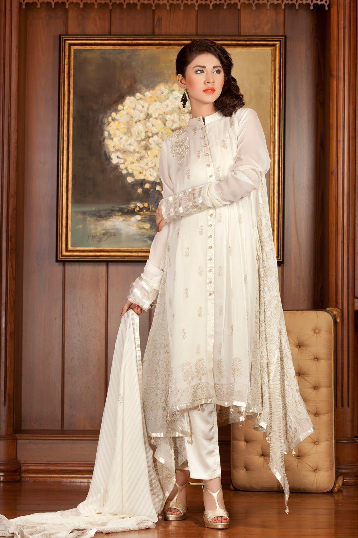 3af1f949a3 Off White Pakistani Party Wear Dress in Chiffon fabric with stunning floral  embellishments and motifs work . Beautiful cigarette pants. Chiffon dupatta.