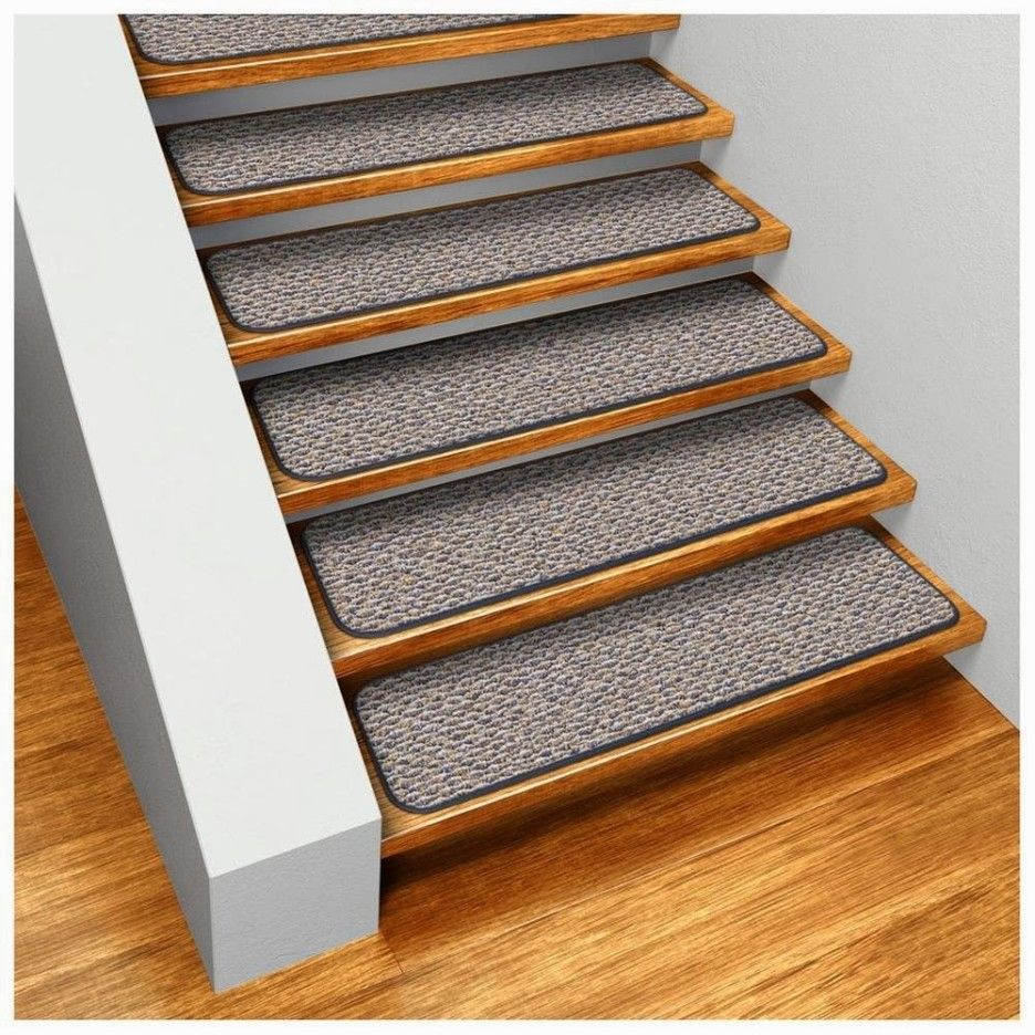 Best No Slip Treads For Stairs Ideas : Straight Stair Design With Brown  Wooden Treads And Gray Anti Slip Tread Mats Combine With Brown Parquet  Floor Also ...