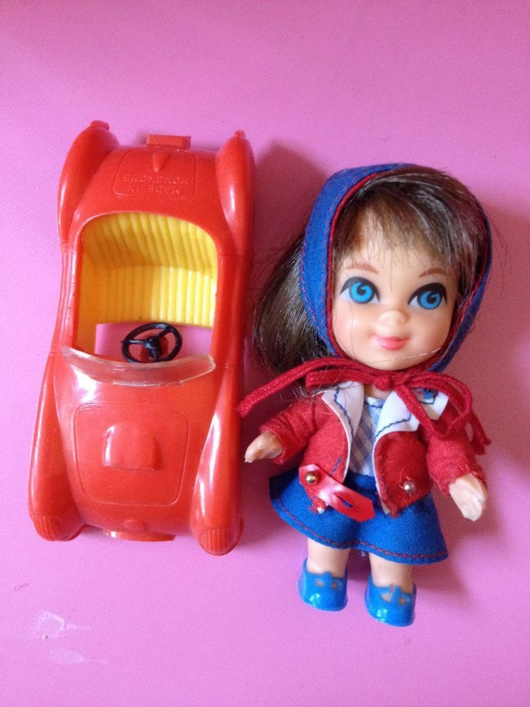 Vintage 1960's Mattel Liddle Kiddle Babe Biddle and RED SPORTS CAR