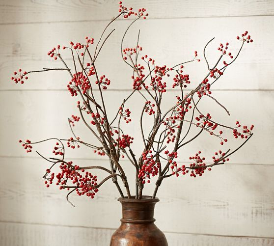 Christmas Decorations With Tree Branches: Faux Red Berry Branch