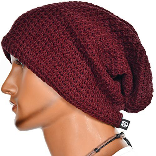 FORBUSITE Mens Slouchy Long Oversized Knit Beanie Cap for Summer Winter B08 Black