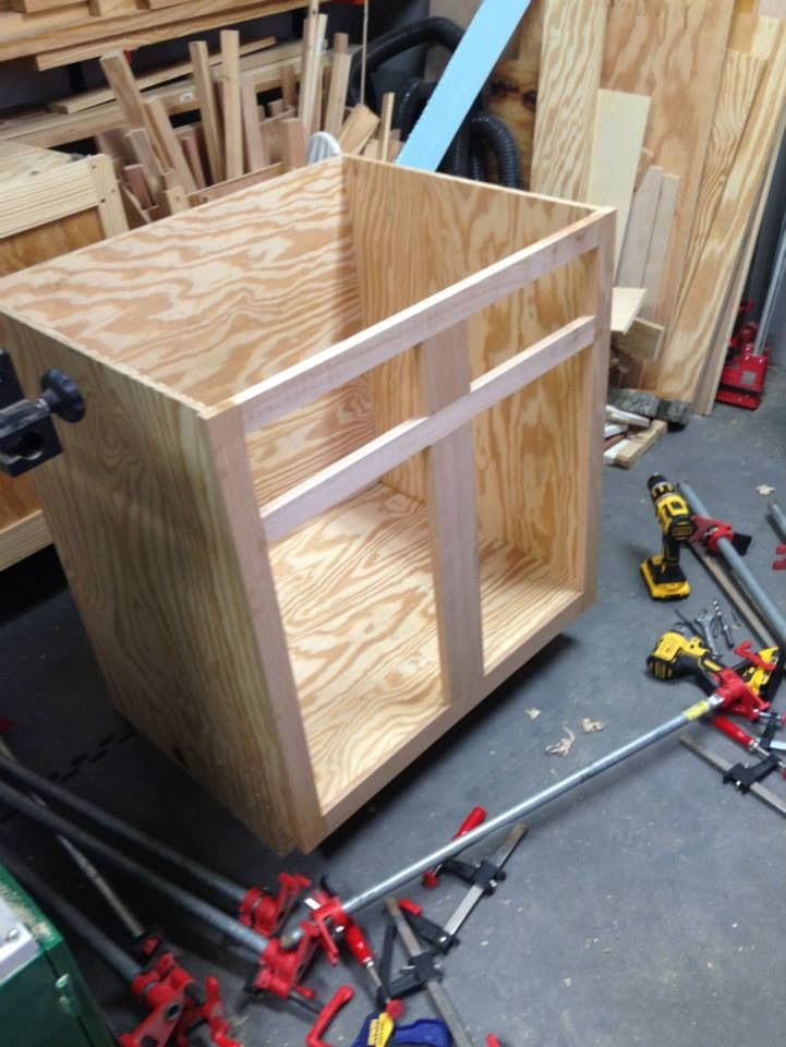 Kitchen Cabinet Build Work In Progress Bc Pine Plywood Box With Red Oak Face Frame Drawers And Doors Plywood Boxes Pine Plywood Home Board