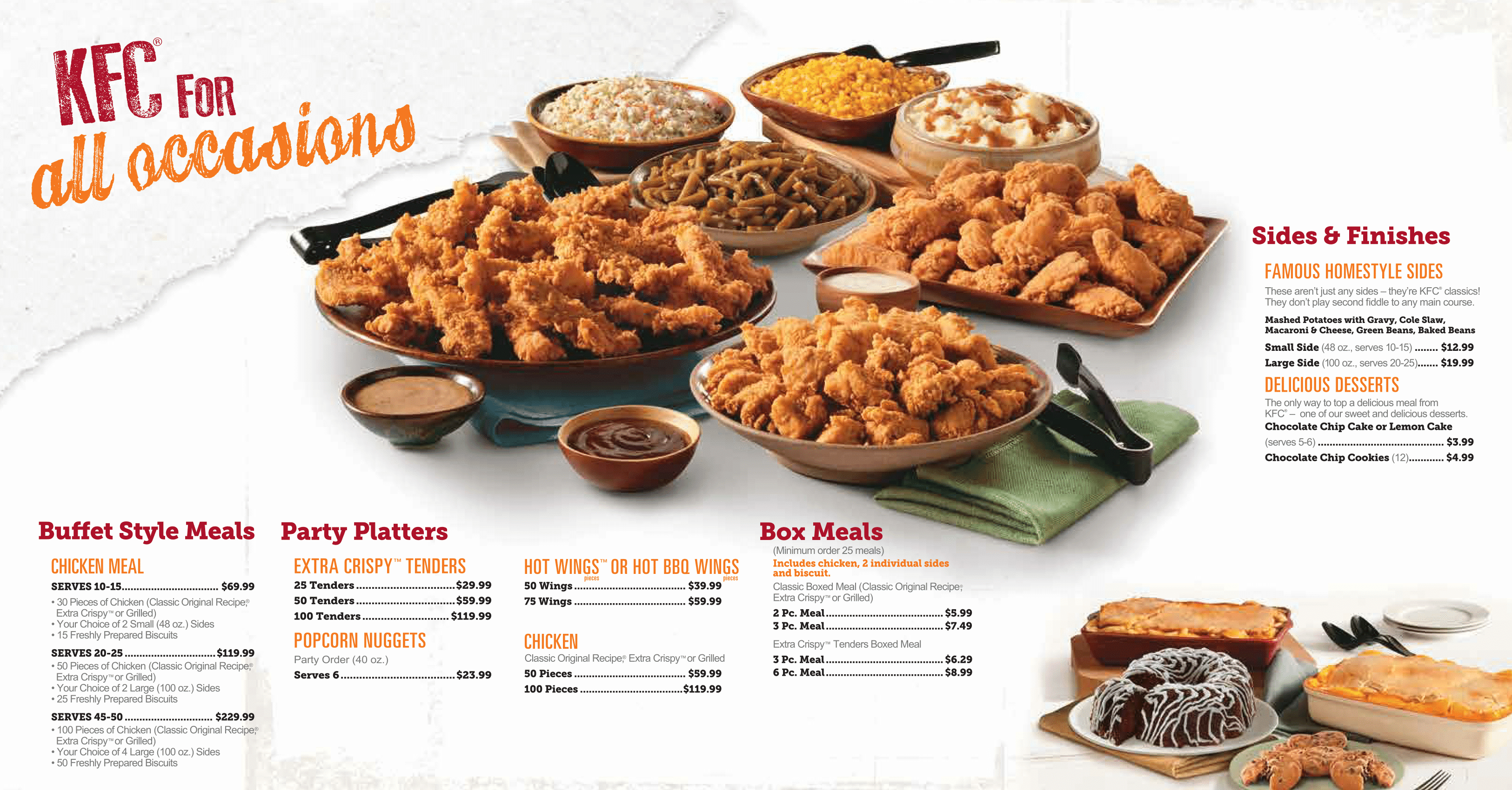 Kfc Catering Menu Prices View Kfc Catering Menu Here Catering Menu Fast Food Advertising Dessert Buffet