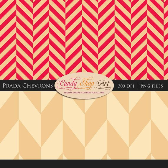 Instant Download Prada Chevrons Red Coral by CandyShopDigitalArt