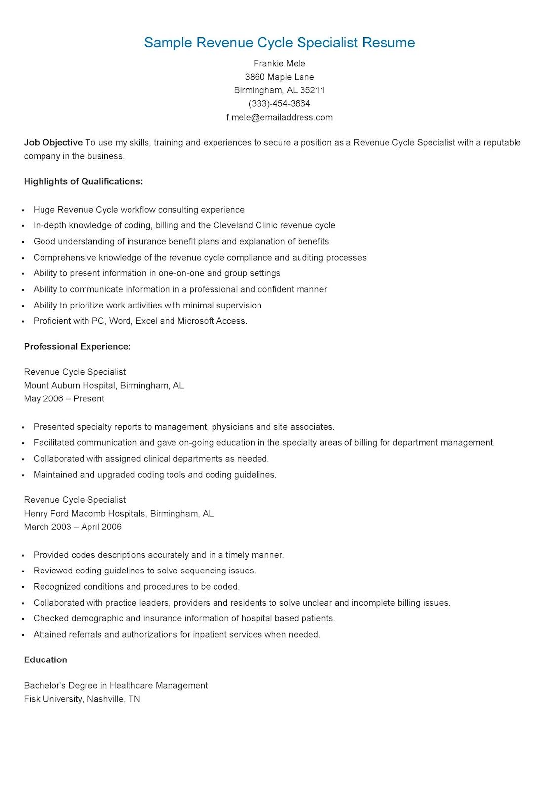 Sample Revenue Cycle Specialist Resume Revenue Cycle Cycle Revenue