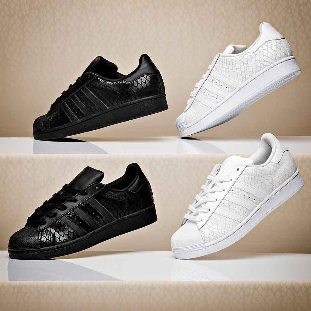 Dress from the feet up in the adidas Originals Womens Superstar Croc Trainer .