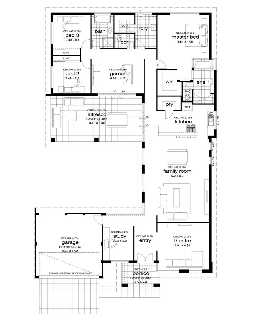 Premiere Homes 17m Wide Block House Floor Plans Floor Plans House Plans