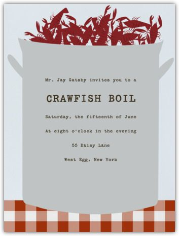 Crawfish Boil Paperless Post so cute Party Plans Pinterest