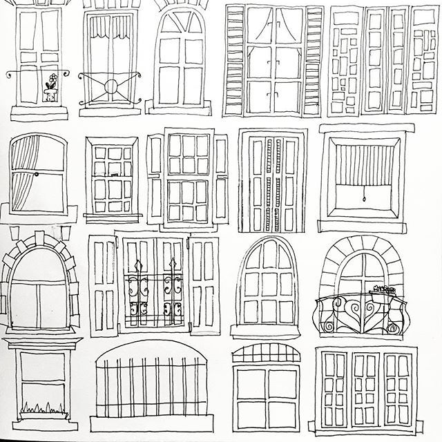 Personal challenge idea: Draw a page of doors, windows, flowers