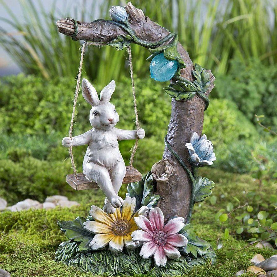 Solar Rabbit on Swing Garden Statue | Garden decor | Pinterest ...