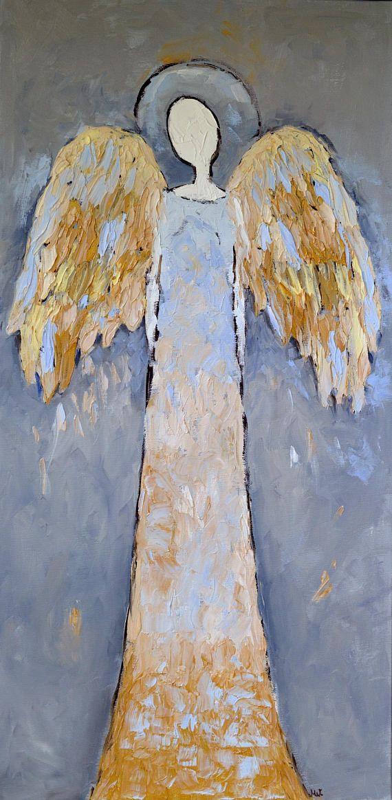 Blue Guardian Angel Painting Original Angel Wall Art Angel Painting On Canvas Angel Oil Painting Angel Ooak Angel Angel Painting Watercolor Angel Angel Drawing