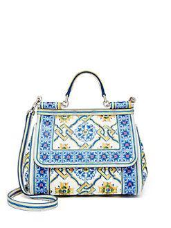 caaaac06a8 Dolce   Gabbana - Sicily Medium Tile-Print Textured Leather Top-Handle  Satchel
