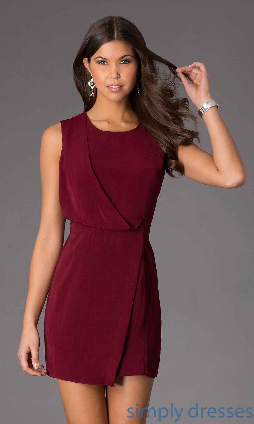 68838fdd4a5f Shop short wrap cocktail dresses with scoop necks at SimplyDresses. Cheap  sleeveless cocktail dresses for work or semi-formal parties.