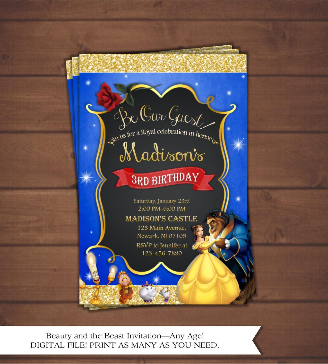 Beauty and the Beast Birthday Invitation by