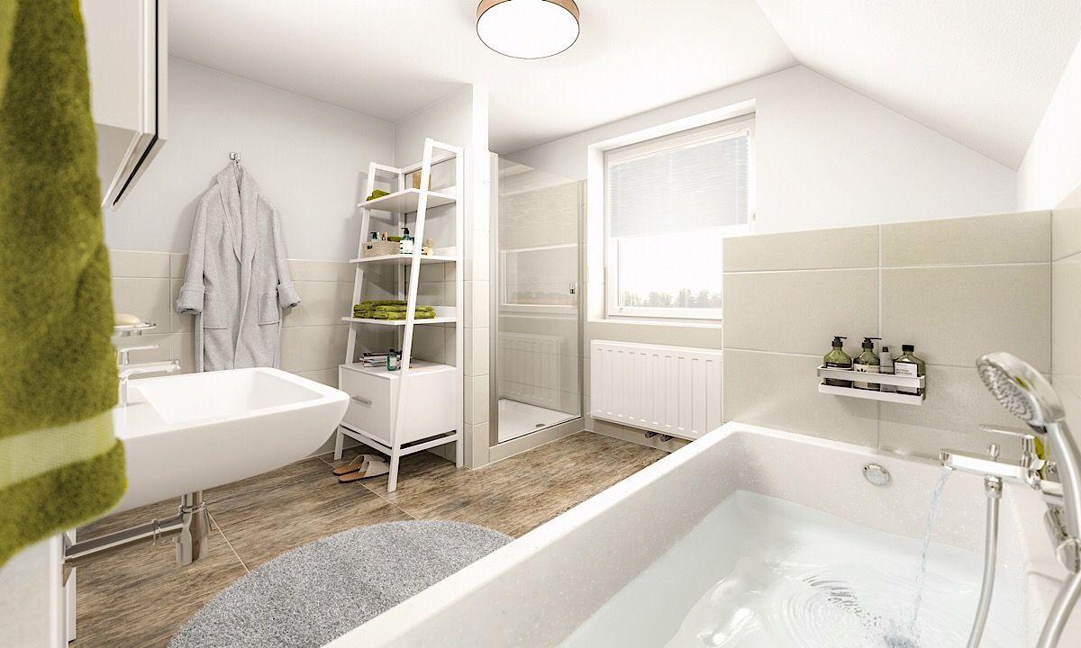Badezimmer modern mit Badewanne unter Dachschräge & Dusche ...