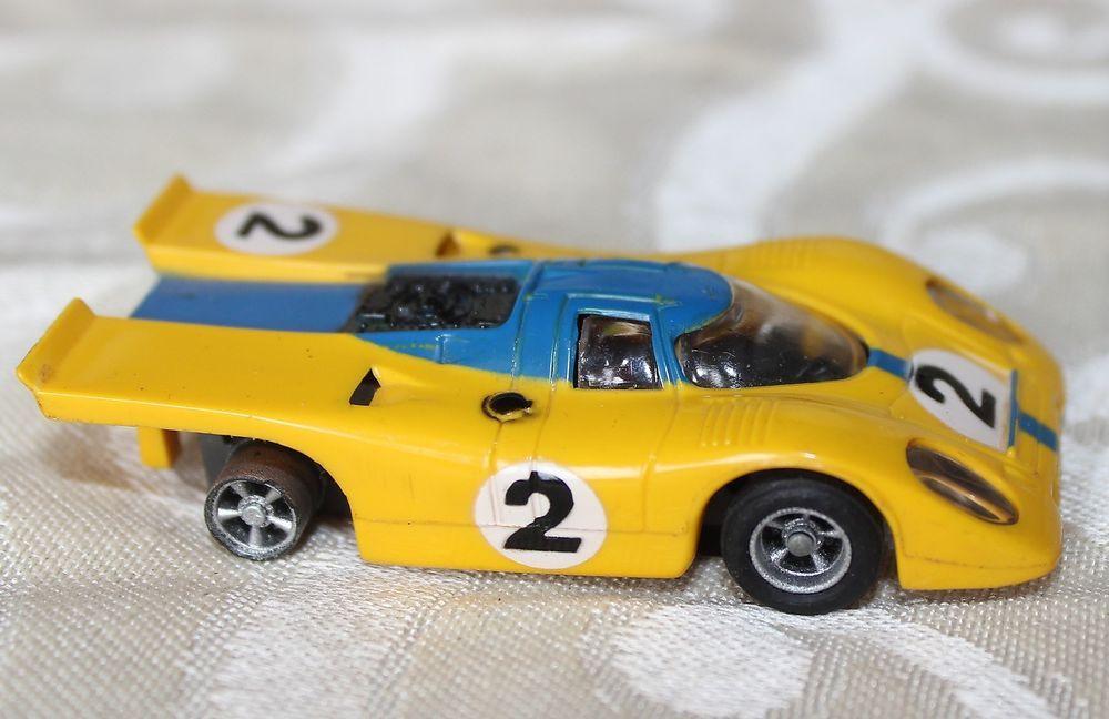 Aurora AFX Porsche 917 #2 Yellow & Blue Vintage Ho Slot Car