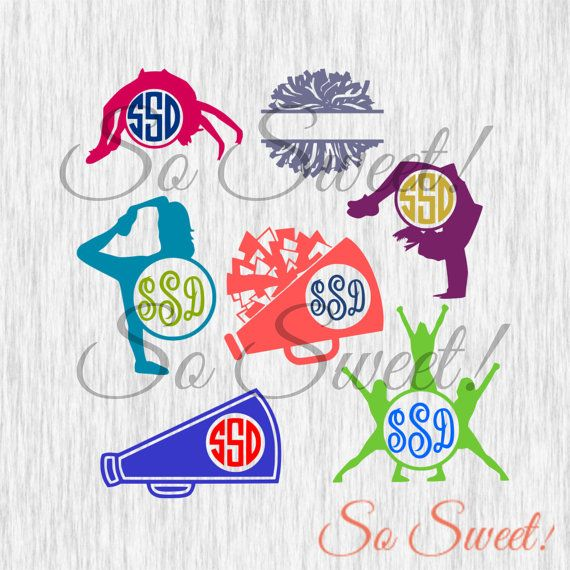 Cheer Monogram SVG / DXF Frames Cheerleading Frames for Silhouette ...