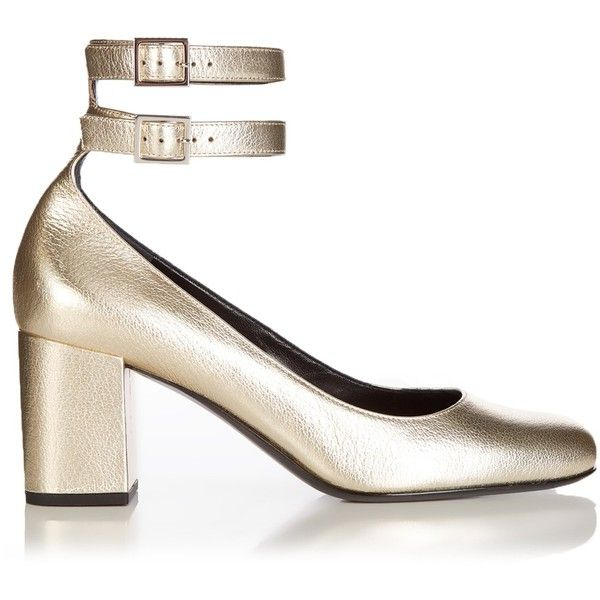 44fd736ba08f Saint Laurent Babies metallic-leather pumps (£640) ❤ liked on Polyvore  featuring shoes