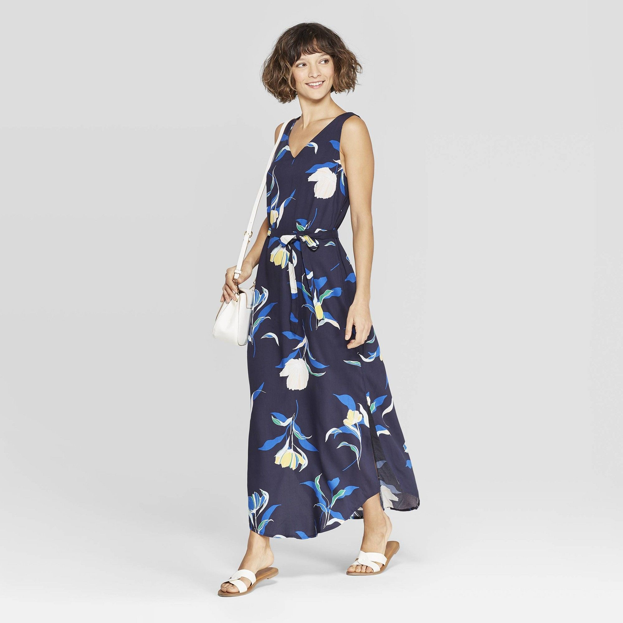 Women S Floral Print Sleeveless V Neck Maxi Dress A New Day Navy M Blue [ 2000 x 2000 Pixel ]