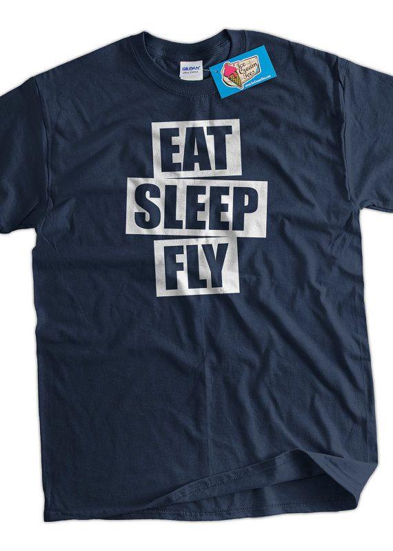 Pilot T-Shirt Plane Flying T-Shirt Eat Sleep Fly by IceCreamTees