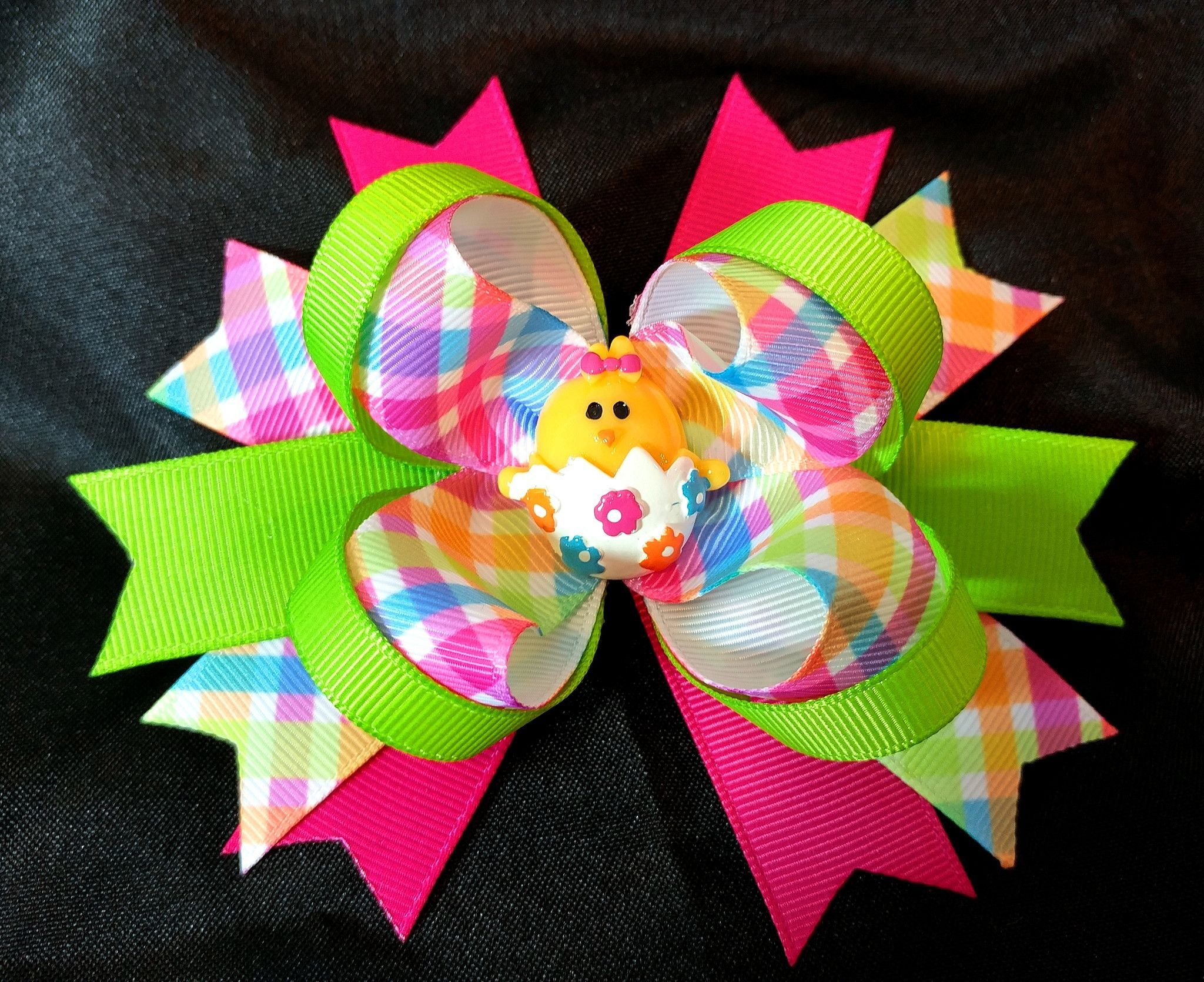 "Lime green quatrefoil print 3/"" pinwheel bow DIY baby headbands /& hair bows"