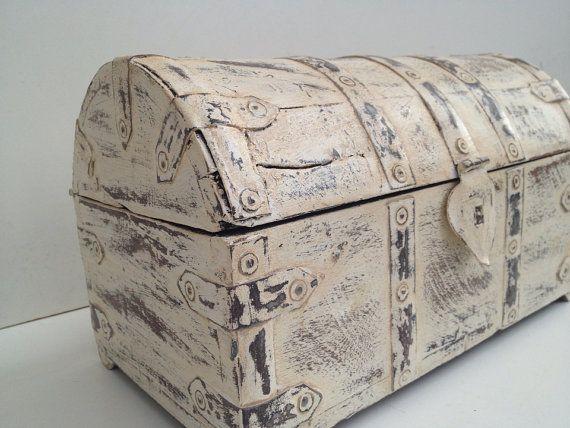 rustic white box treasure chest wedding box jewelry box housing
