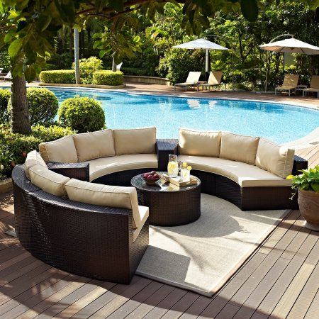 Crosley Furniture Catalina 6 Piece Outdoor Wicker Seating Set With Sand Cushions 3 Round