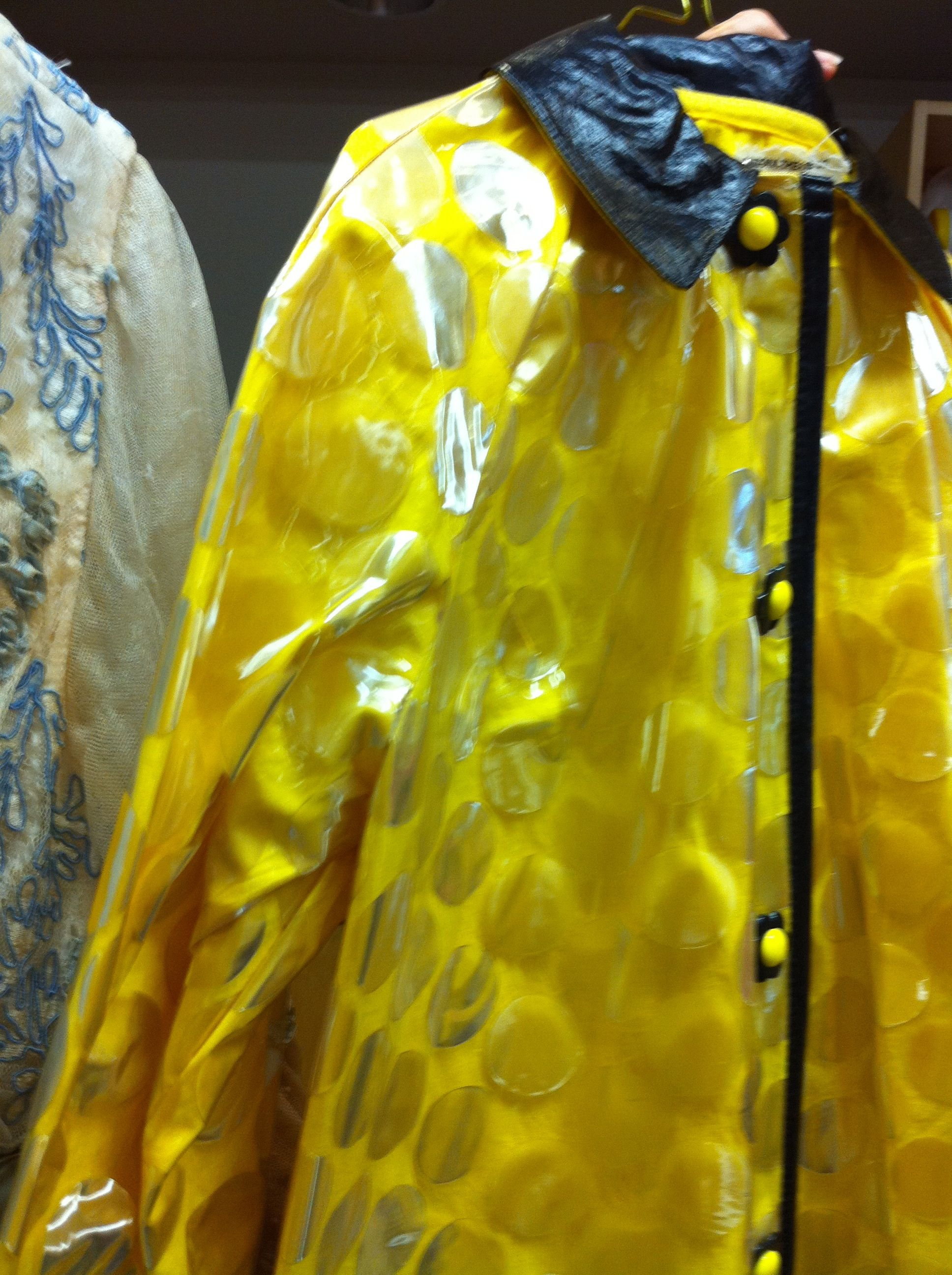 60s-style raincoat made from a shower curtain.