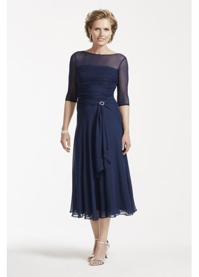 Tea Length Chiffon Dress with Pleated Bodice AWYEC23 $100 at ...