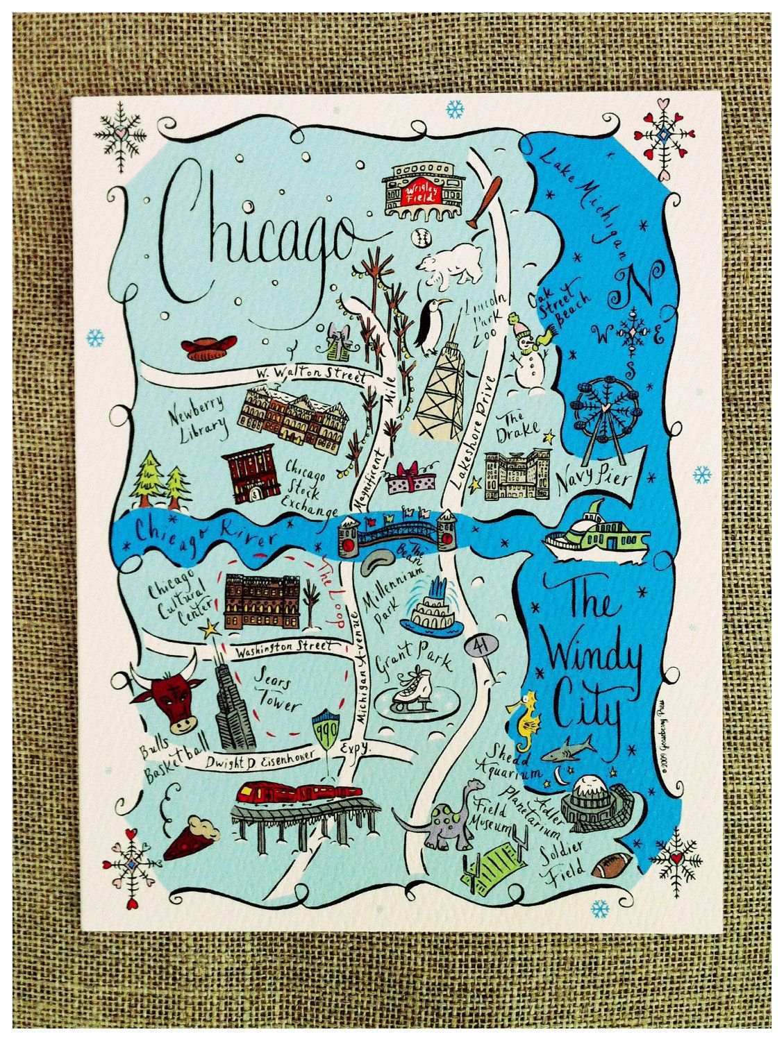 Chicago City Map Full Color Note Card Via Etsy For The Home - Chicago map etsy