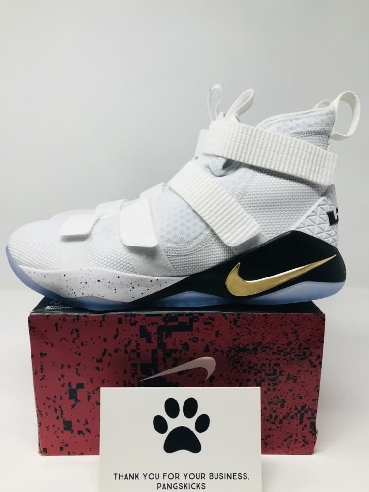 269b0e220498 Nike LeBron Soldier 11  Court General  White Gold 897644-101 Size 10.5-