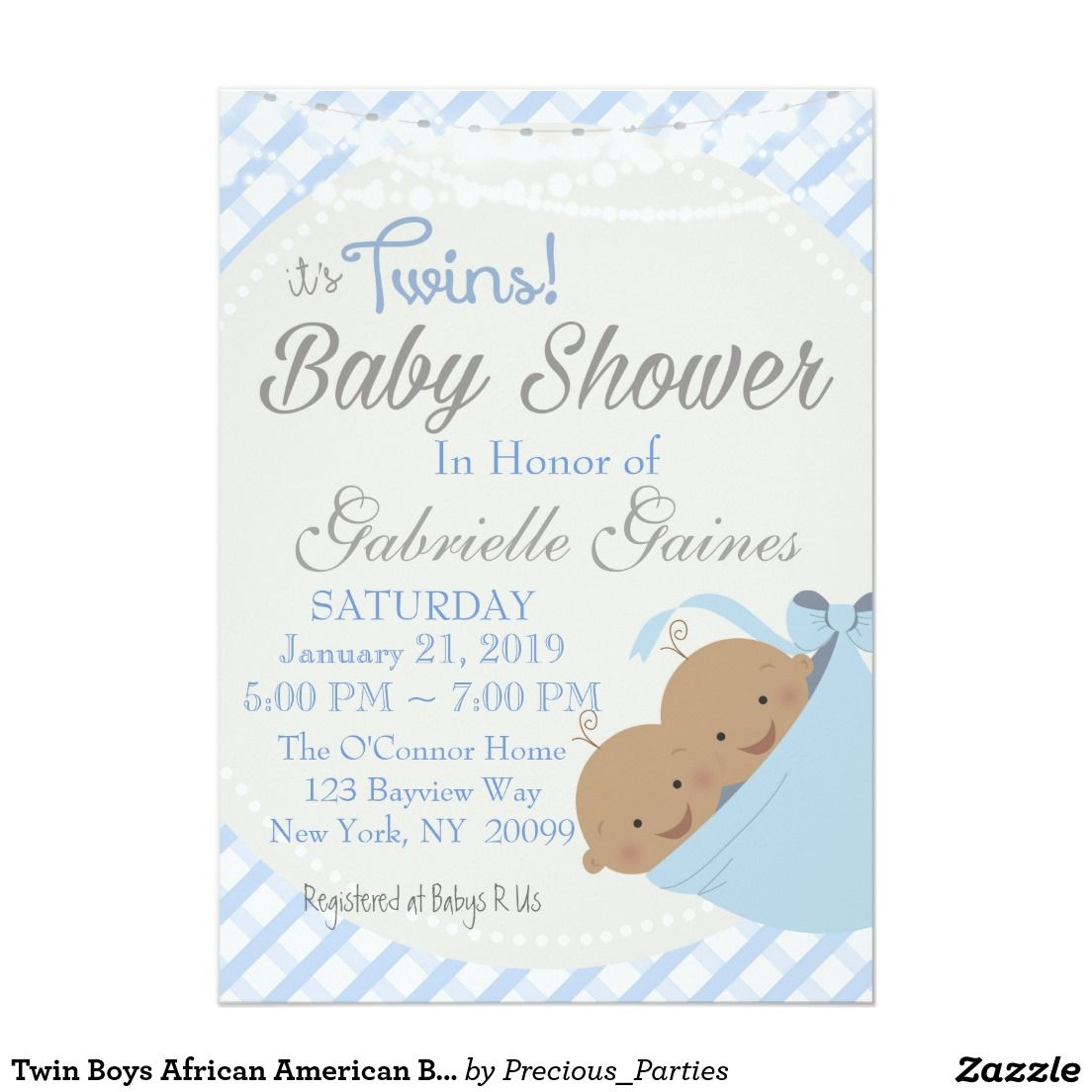 Twin Boys African American Baby Shower Invitation | Baby Showers ...