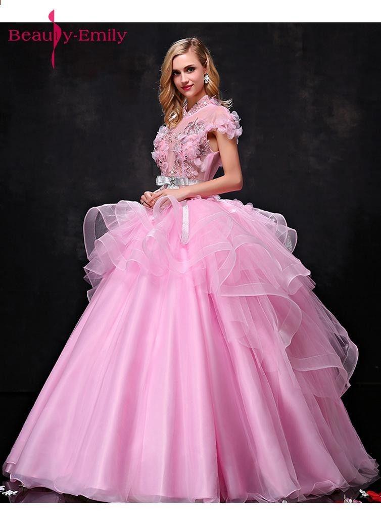 3beb7f8634 Uroda Emily różowa długa suknia Quinceanera sukienki 2018 Księżniczka  sukienki dla dziewczynek z krótkim rękawem Lace