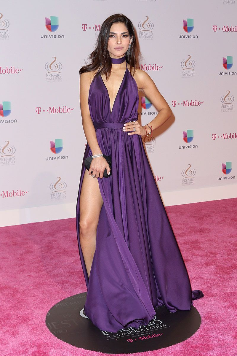 alejandra espinoza sexy open back purple dress premio lo nuestro ...