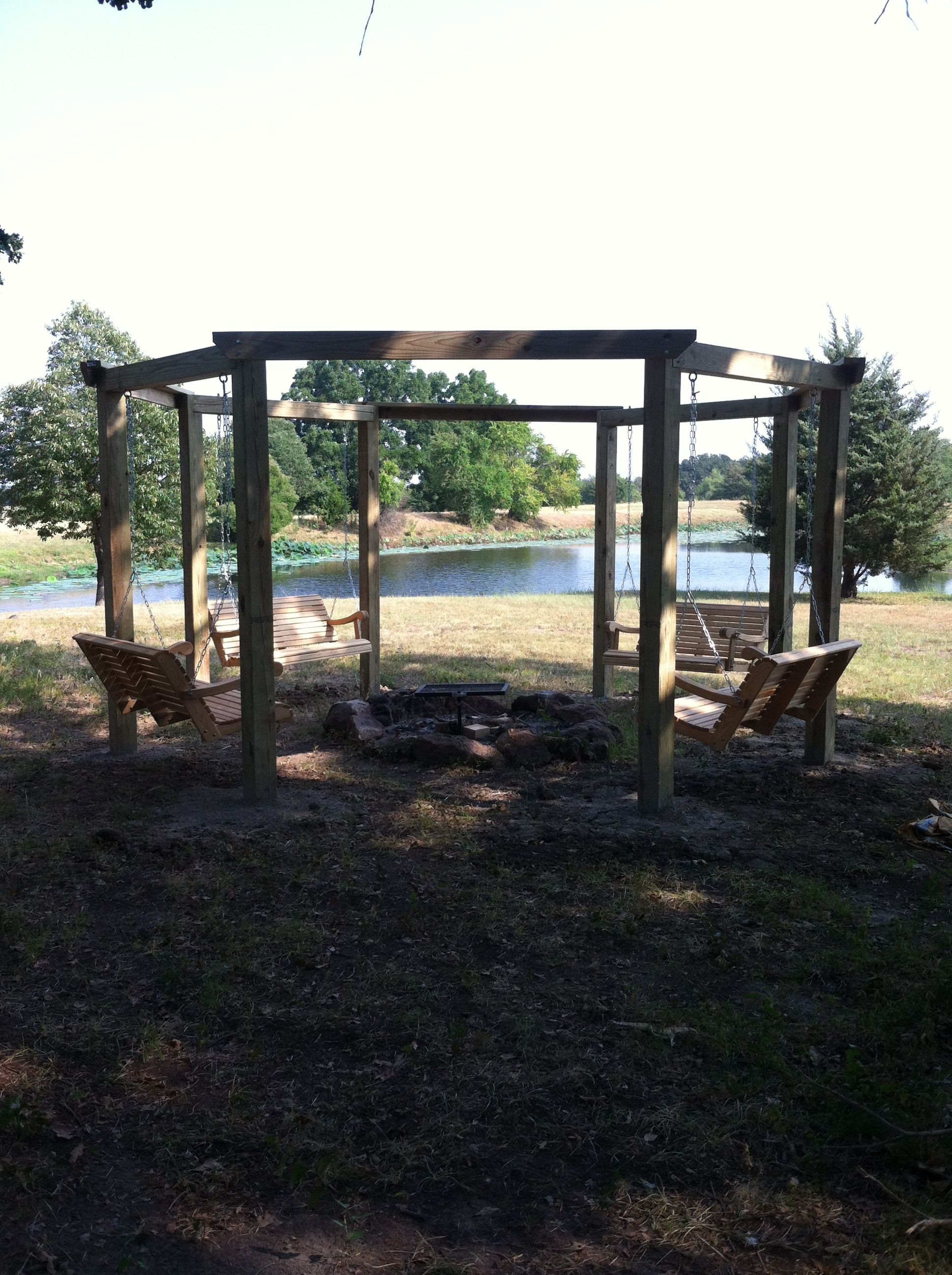 outdoor multi swing gazebo around firepit two solid workdays will