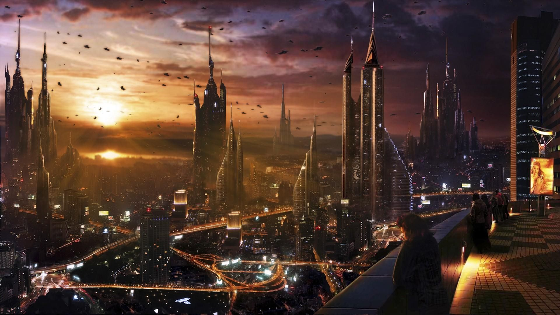 Futuristic City Hd Wallpaper 1920x1080 Id 35284 Sci Fi Wallpaper Futuristic City Steampunk City