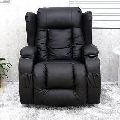 Caesar 10 In 1 Winged Leather Recliner Chair Rocking Massage Swivel Heated Chair Corner Sofa And Swivel Chair Round Sofa Chair