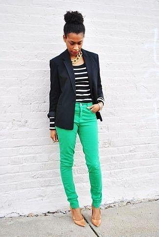Women's Black Blazer, Black and White Horizontal Striped