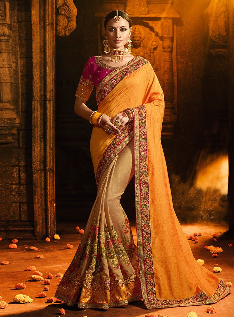 c0acc4f377 Buy Yellow Satin Half and Half Saree 151037 with blouse online at lowest  price from vast collection of sarees at Indianclothstore.com.