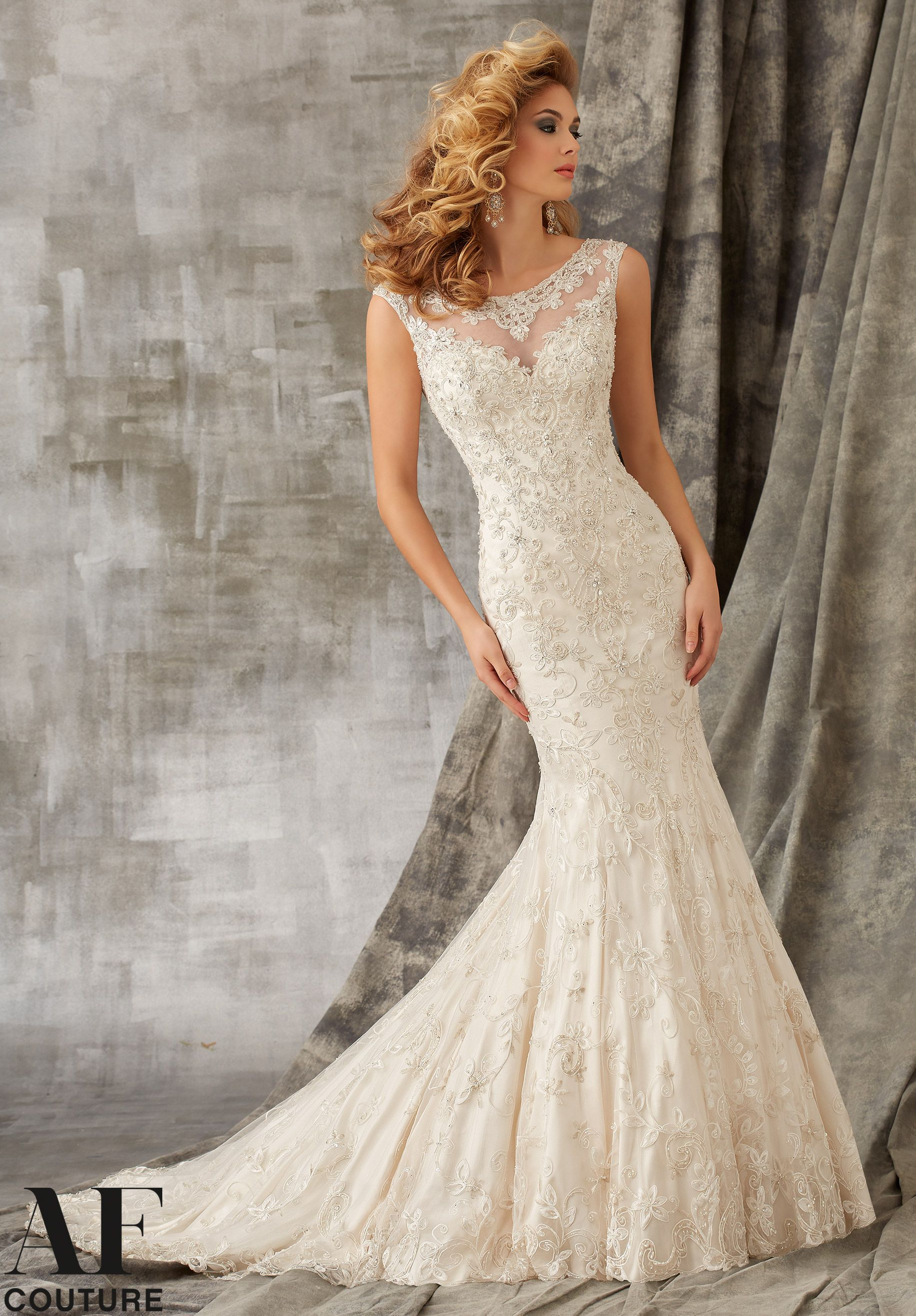 Wedding gowns dresses style cordinelli embroidery with