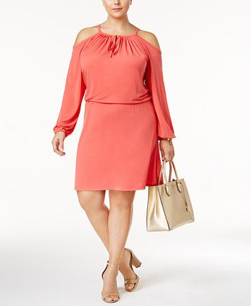 1b1e319f05b MICHAEL Michael Kors Plus Size Cold-Shoulder Blouson Dress
