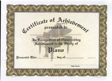 Piano Acheivement Certificate