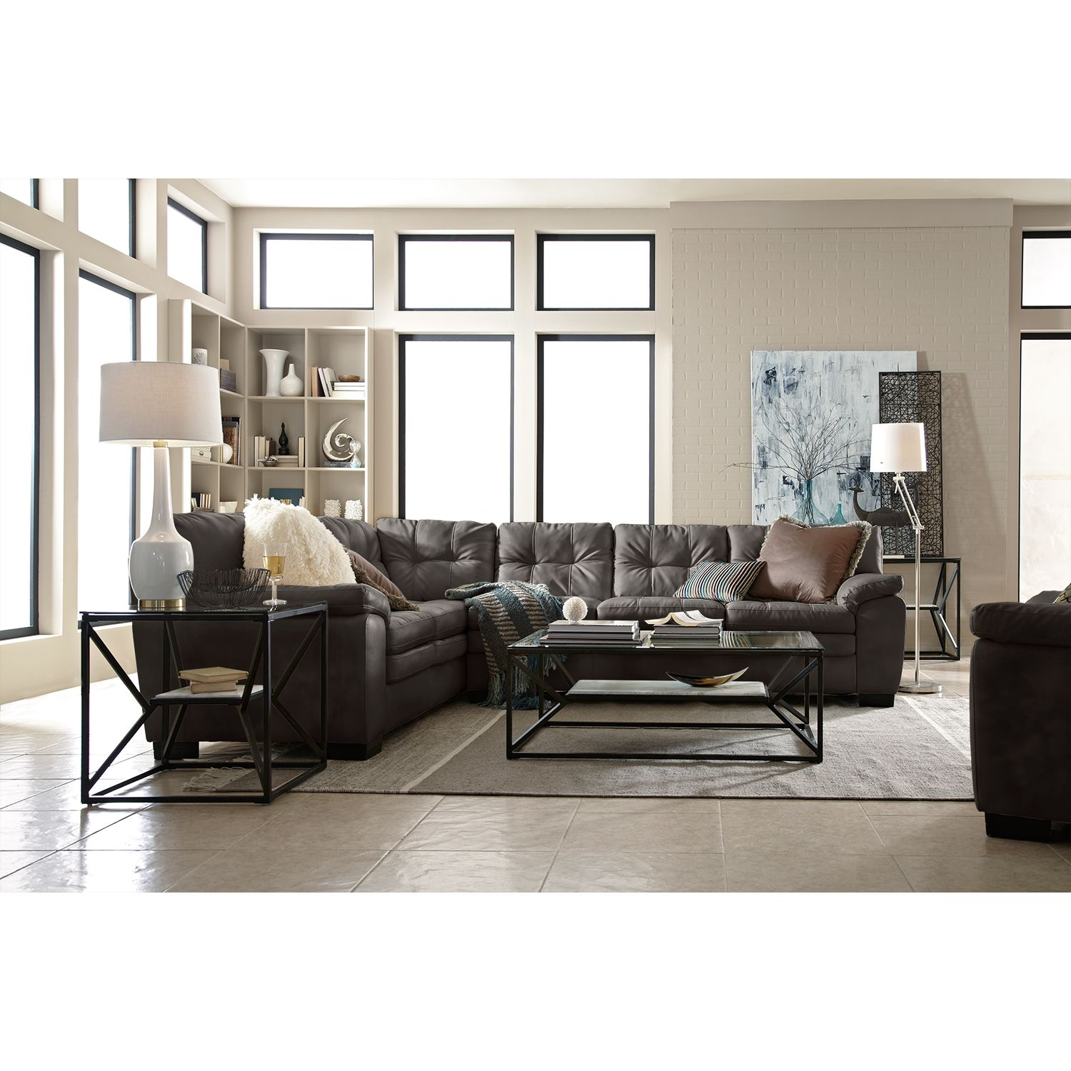 Legend Gray II Leather Collection   Value City Furniture