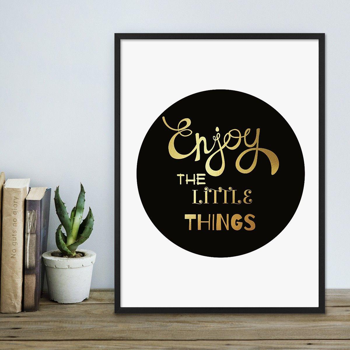 Design-Poster mit Bilderrahmen Schwarz \'Little Things\' 30x40 cm mit ...